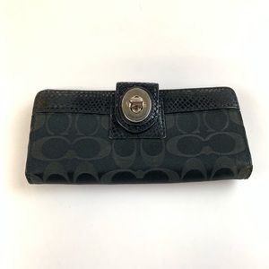 Coach Womens Wallet Bifold Turnlock Blue Black